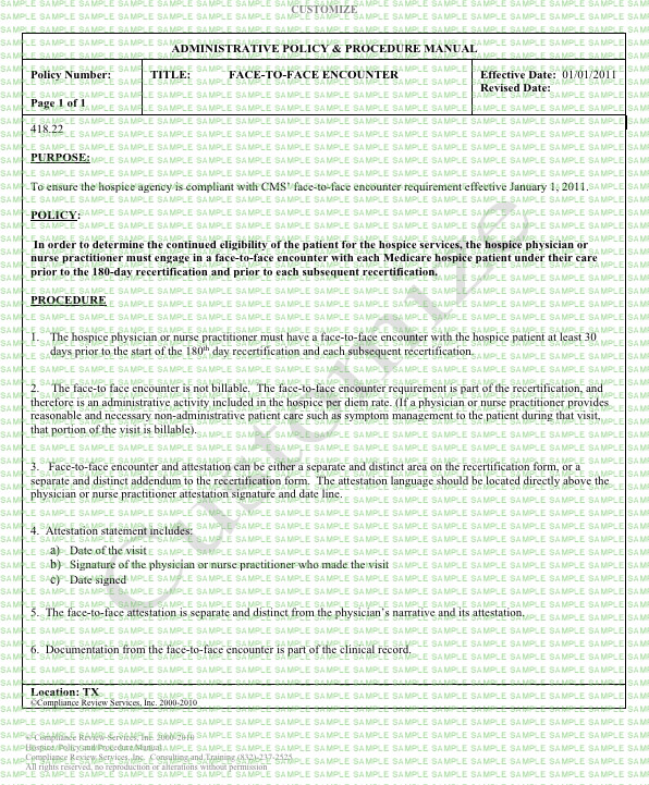 Face-To-Face Encounter Hospice Policy & Procedure Form